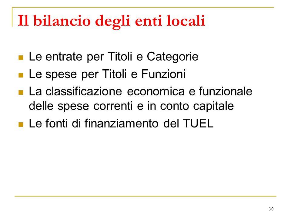 30 Il bilancio degli enti locali Le entrate per Titoli e Categorie Le spese per Titoli e Funzioni La classificazione economica e funzionale delle spes