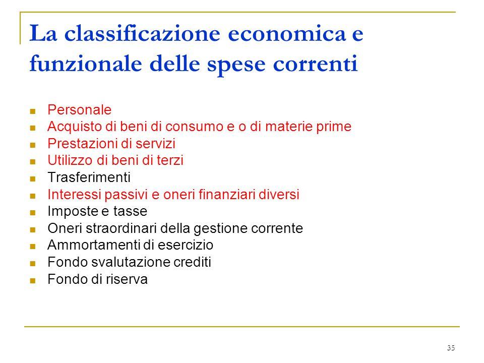 35 La classificazione economica e funzionale delle spese correnti Personale Acquisto di beni di consumo e o di materie prime Prestazioni di servizi Ut
