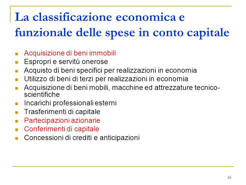 36 La classificazione economica e funzionale delle spese in conto capitale Acquisizione di beni immobili Espropri e servitù onerose Acquisto di beni s