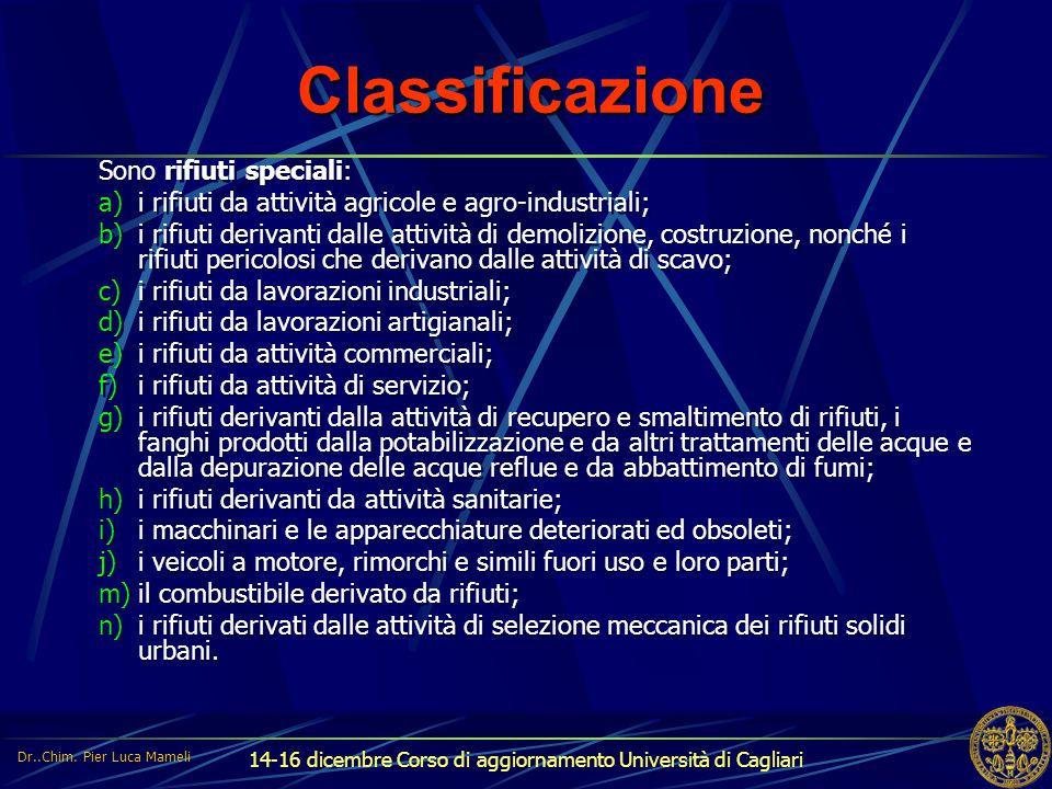 14-16 dicembre Corso di aggiornamento Università di Cagliari Classificazione Sono rifiuti speciali: a)i rifiuti da attività agricole e agro-industrial
