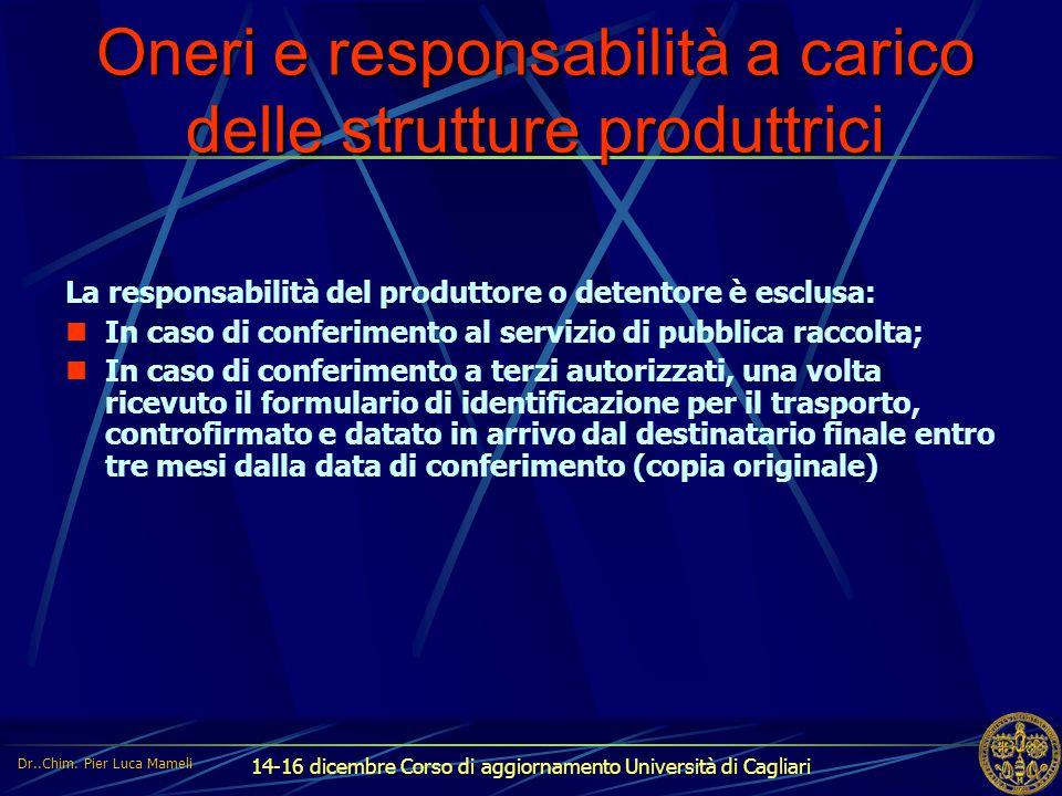 14-16 dicembre Corso di aggiornamento Università di Cagliari Oneri e responsabilità a carico delle strutture produttrici La responsabilità del produtt