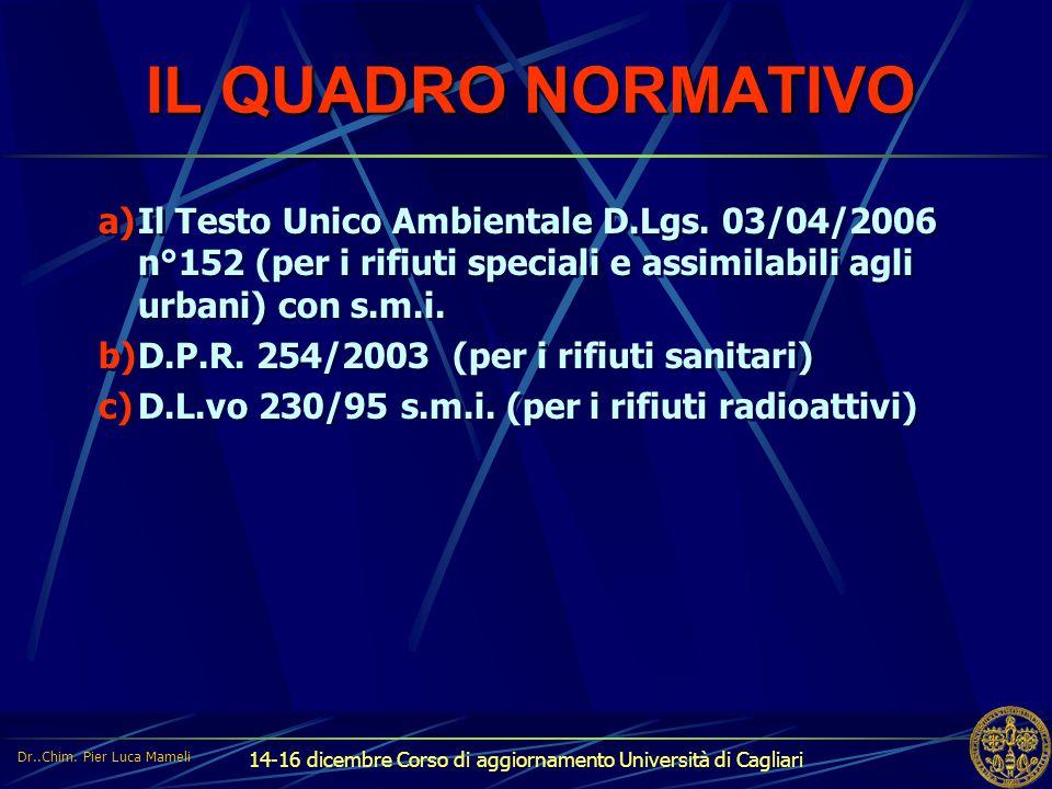 14-16 dicembre Corso di aggiornamento Università di Cagliari IL QUADRO NORMATIVO a)Il Testo Unico Ambientale D.Lgs. 03/04/2006 n°152 (per i rifiuti sp