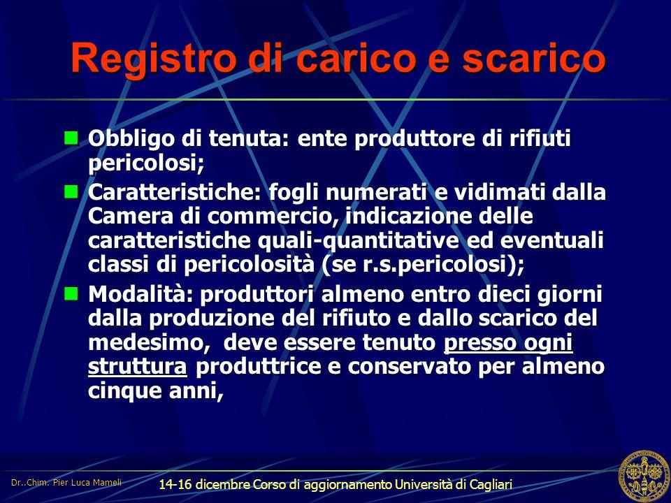 14-16 dicembre Corso di aggiornamento Università di Cagliari Registro di carico e scarico Obbligo di tenuta: ente produttore di rifiuti pericolosi; Ca