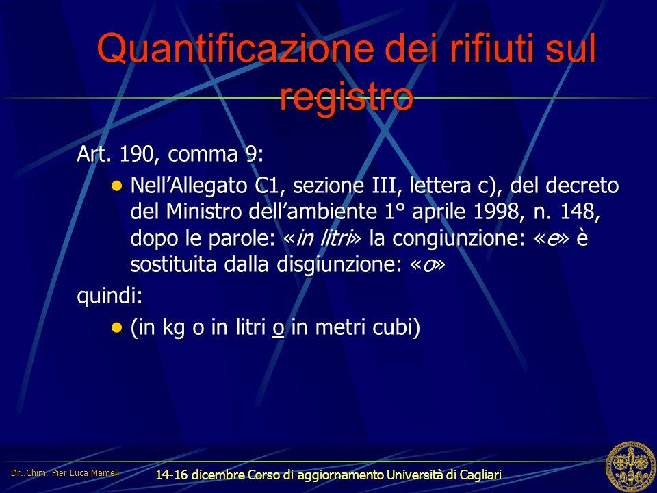 14-16 dicembre Corso di aggiornamento Università di Cagliari Quantificazione dei rifiuti sul registro Art. 190, comma 9: Nell'Allegato C1, sezione III