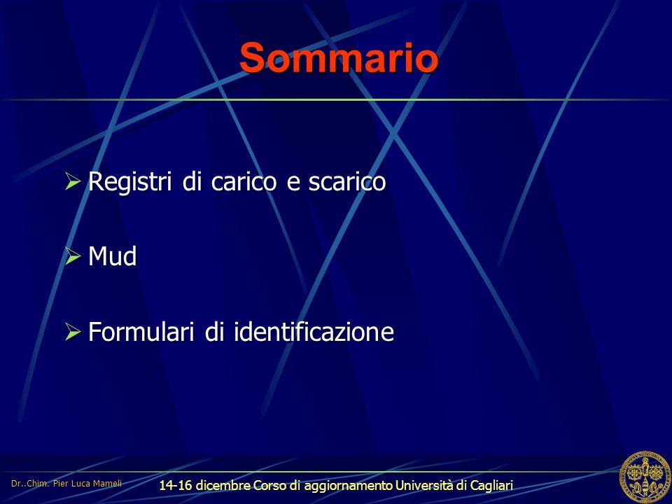 14-16 dicembre Corso di aggiornamento Università di Cagliari Sommario  Registri di carico e scarico  Mud  Formulari di identificazione  Registri d
