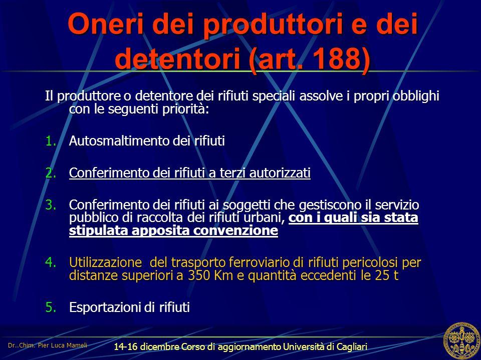 14-16 dicembre Corso di aggiornamento Università di Cagliari Oneri dei produttori e dei detentori (art. 188) Il produttore o detentore dei rifiuti spe