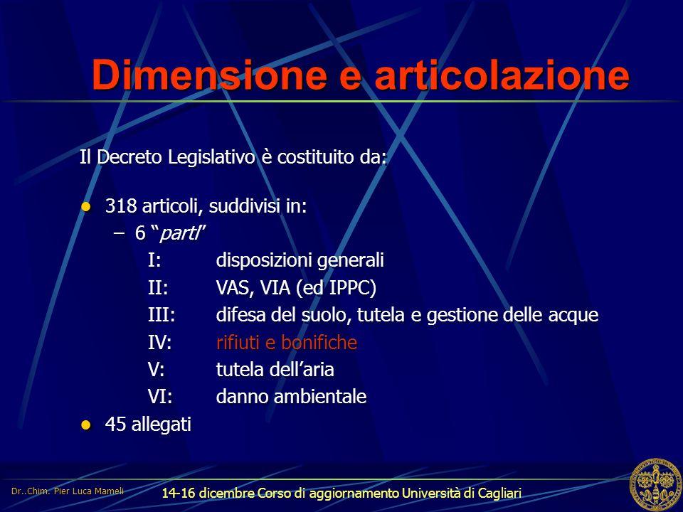 14-16 dicembre Corso di aggiornamento Università di Cagliari Dimensione e articolazione Il Decreto Legislativo è costituito da: 318 articoli, suddivis