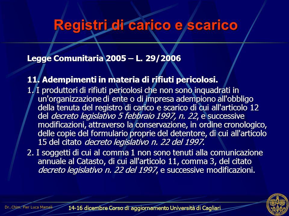14-16 dicembre Corso di aggiornamento Università di Cagliari Registri di carico e scarico Legge Comunitaria 2005 – L. 29/2006 11. Adempimenti in mater