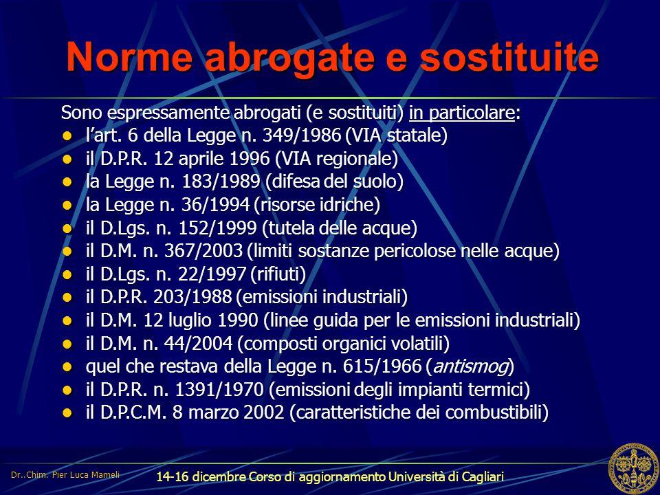 14-16 dicembre Corso di aggiornamento Università di Cagliari Norme non abrogate Restano in vigore in particolare: in materia di rifiuti: – mezzo D.Lgs.