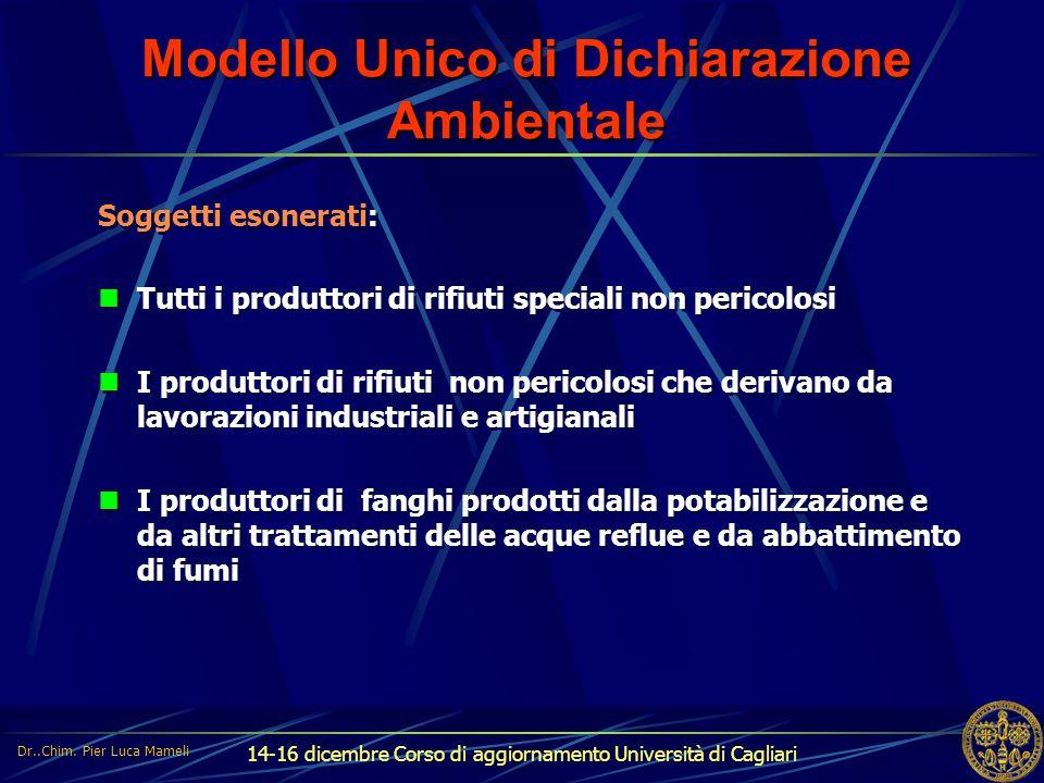 14-16 dicembre Corso di aggiornamento Università di Cagliari Modello Unico di Dichiarazione Ambientale Soggetti esonerati: Tutti i produttori di rifiu