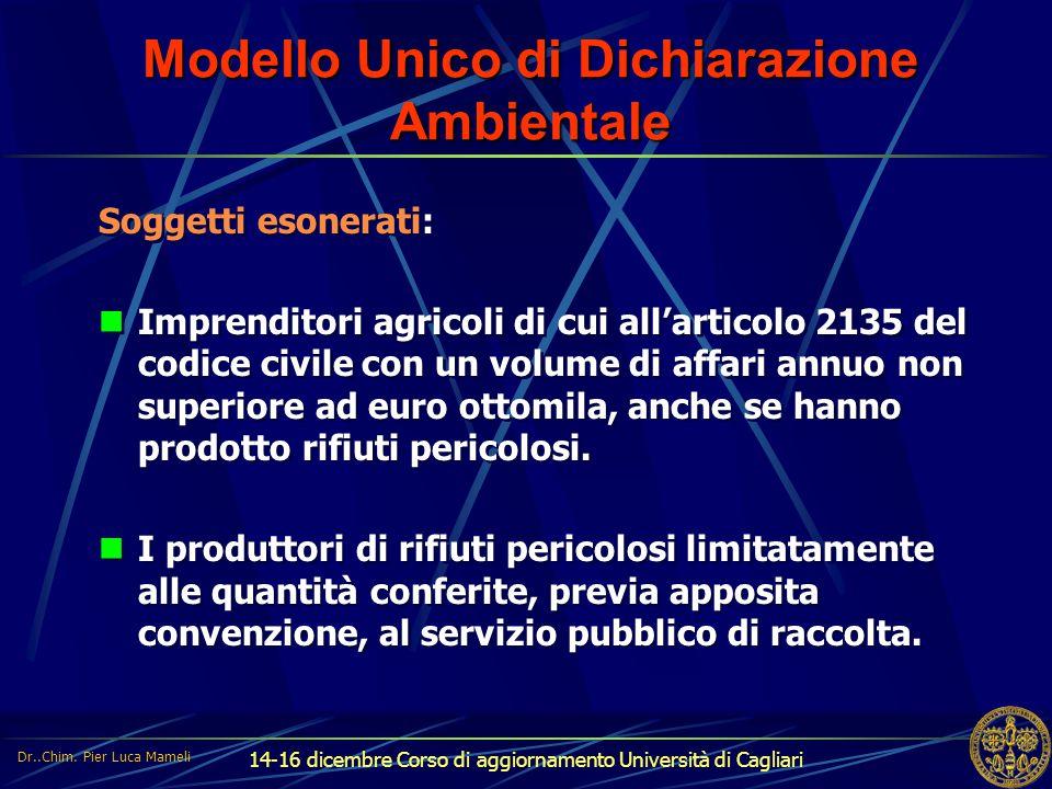 14-16 dicembre Corso di aggiornamento Università di Cagliari Modello Unico di Dichiarazione Ambientale Soggetti esonerati: Imprenditori agricoli di cu