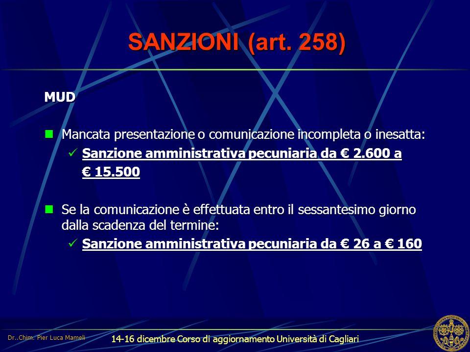 14-16 dicembre Corso di aggiornamento Università di Cagliari SANZIONI (art. 258) MUD Mancata presentazione o comunicazione incompleta o inesatta: Sanz