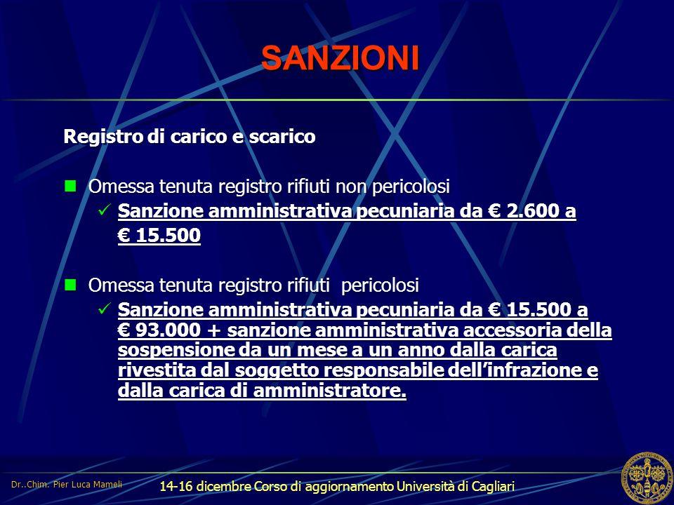 14-16 dicembre Corso di aggiornamento Università di Cagliari SANZIONI Registro di carico e scarico Omessa tenuta registro rifiuti non pericolosi Sanzi
