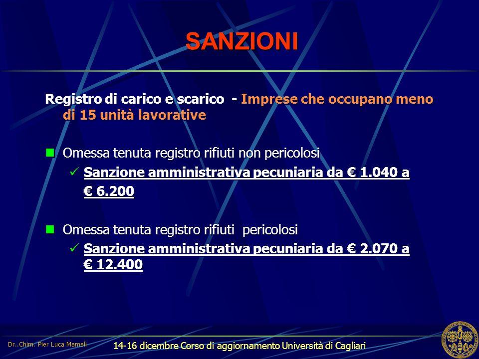 14-16 dicembre Corso di aggiornamento Università di Cagliari SANZIONI Registro di carico e scarico - Imprese che occupano meno di 15 unità lavorative