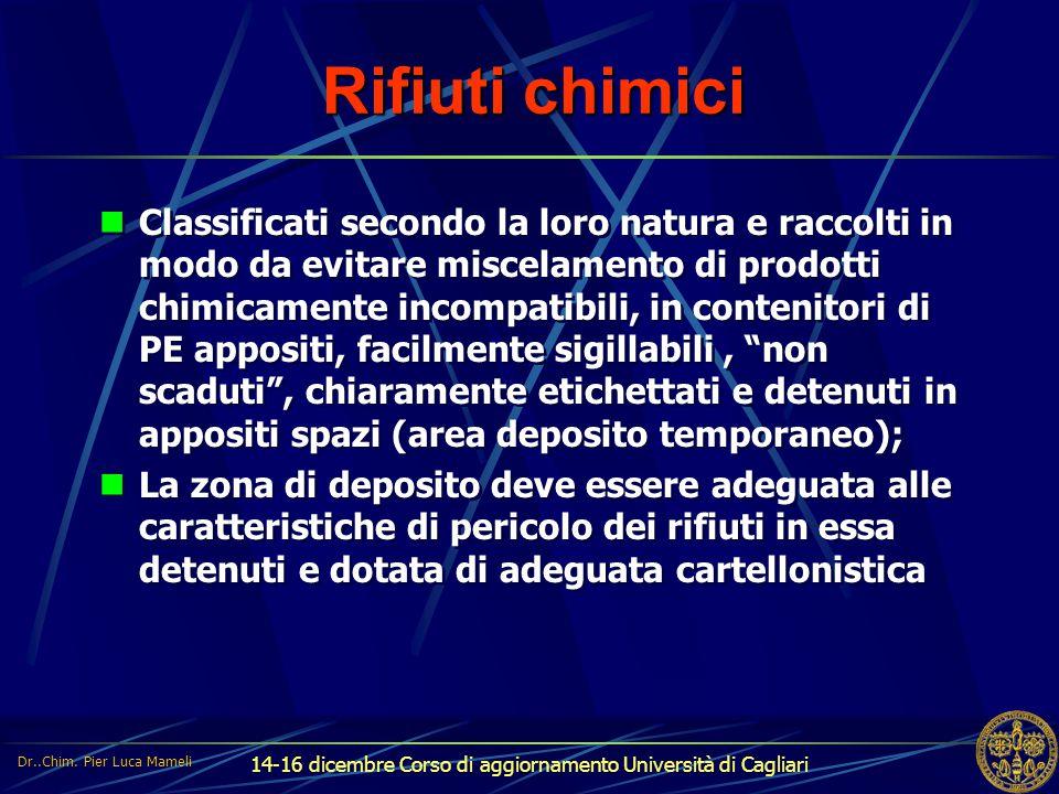14-16 dicembre Corso di aggiornamento Università di Cagliari Rifiuti chimici Classificati secondo la loro natura e raccolti in modo da evitare miscela