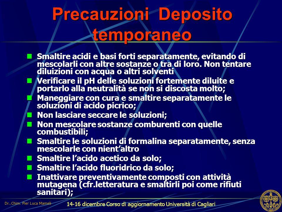 14-16 dicembre Corso di aggiornamento Università di Cagliari Precauzioni Deposito temporaneo Smaltire acidi e basi forti separatamente, evitando di me