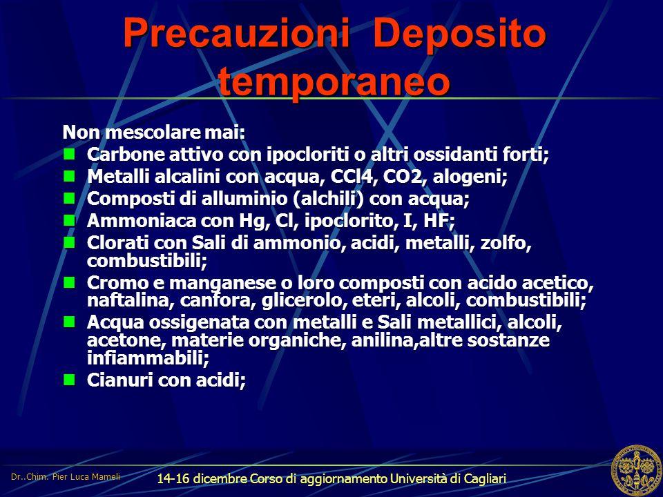 14-16 dicembre Corso di aggiornamento Università di Cagliari Precauzioni Deposito temporaneo Non mescolare mai: Carbone attivo con ipocloriti o altri