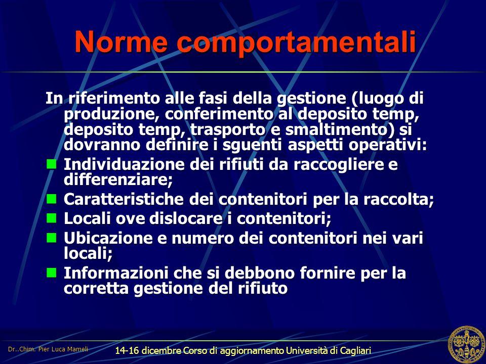 14-16 dicembre Corso di aggiornamento Università di Cagliari Norme comportamentali In riferimento alle fasi della gestione (luogo di produzione, confe