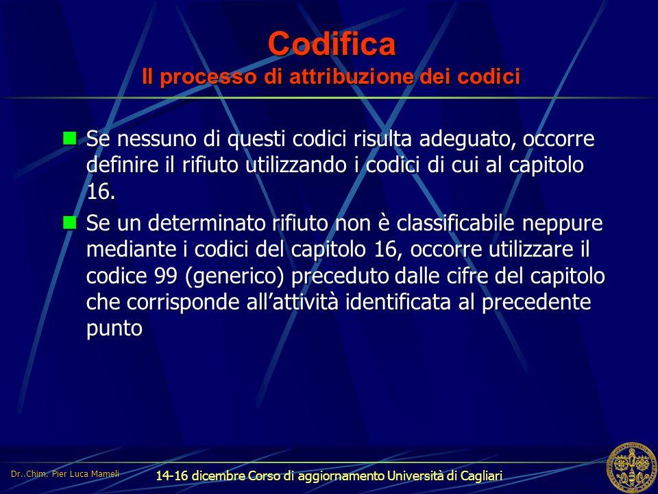 14-16 dicembre Corso di aggiornamento Università di Cagliari Codifica Il processo di attribuzione dei codici Se nessuno di questi codici risulta adegu