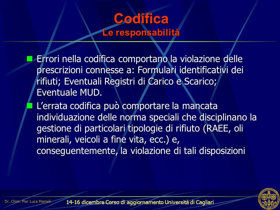14-16 dicembre Corso di aggiornamento Università di Cagliari Codifica Le responsabilità Errori nella codifica comportano la violazione delle prescrizi
