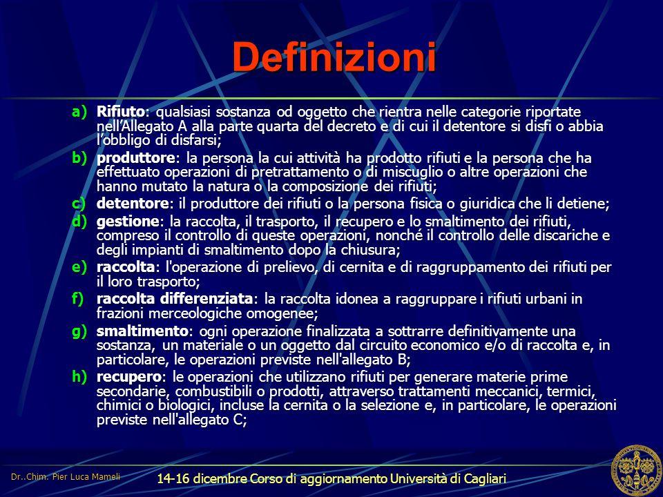 14-16 dicembre Corso di aggiornamento Università di Cagliari Definizioni a)Rifiuto: qualsiasi sostanza od oggetto che rientra nelle categorie riportat
