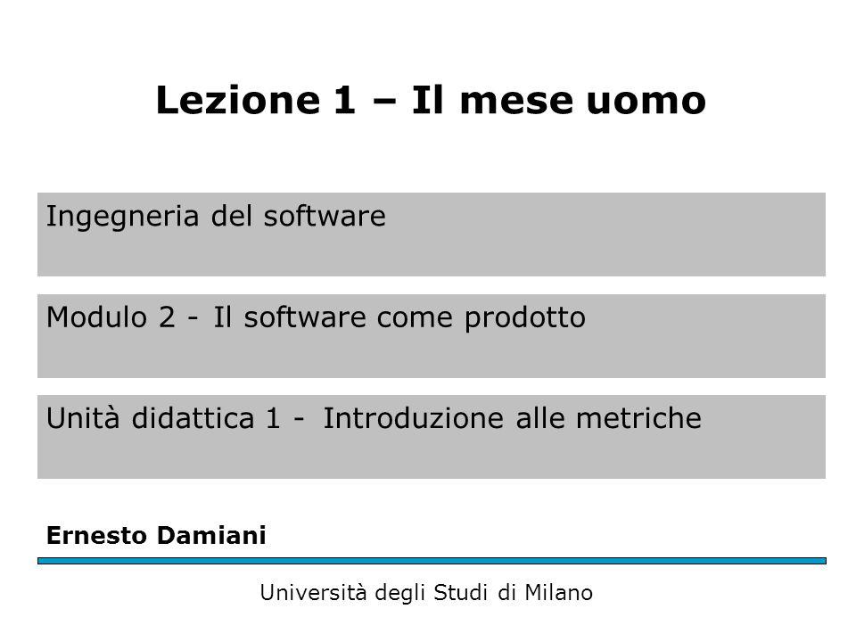 Ingegneria del software Modulo 2 -Il software come prodotto Unità didattica 1 -Introduzione alle metriche Ernesto Damiani Università degli Studi di Mi