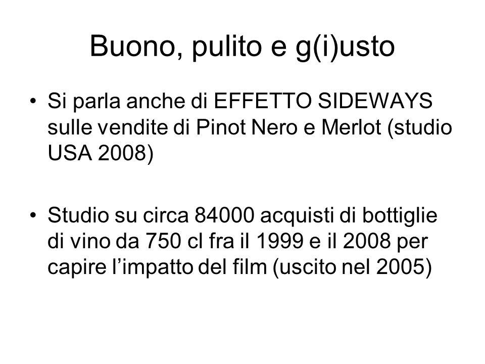 Buono, pulito e g(i)usto Si parla anche di EFFETTO SIDEWAYS sulle vendite di Pinot Nero e Merlot (studio USA 2008) Studio su circa 84000 acquisti di bottiglie di vino da 750 cl fra il 1999 e il 2008 per capire l'impatto del film (uscito nel 2005)