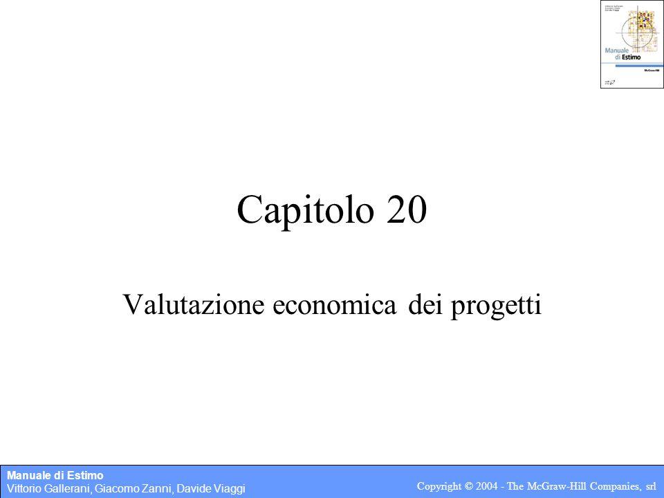 Manuale di Estimo Vittorio Gallerani, Giacomo Zanni, Davide Viaggi Copyright © 2004 - The McGraw-Hill Companies, srl Capitolo 20 Valutazione economica dei progetti