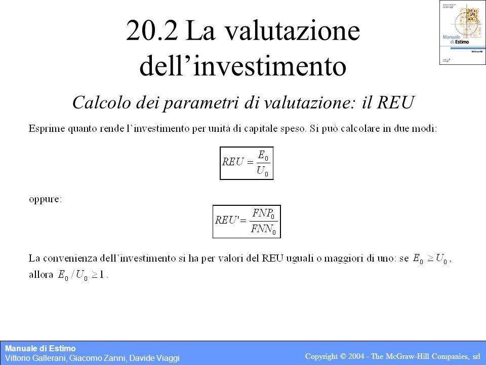 Manuale di Estimo Vittorio Gallerani, Giacomo Zanni, Davide Viaggi Copyright © 2004 - The McGraw-Hill Companies, srl 20.2 La valutazione dell'investim