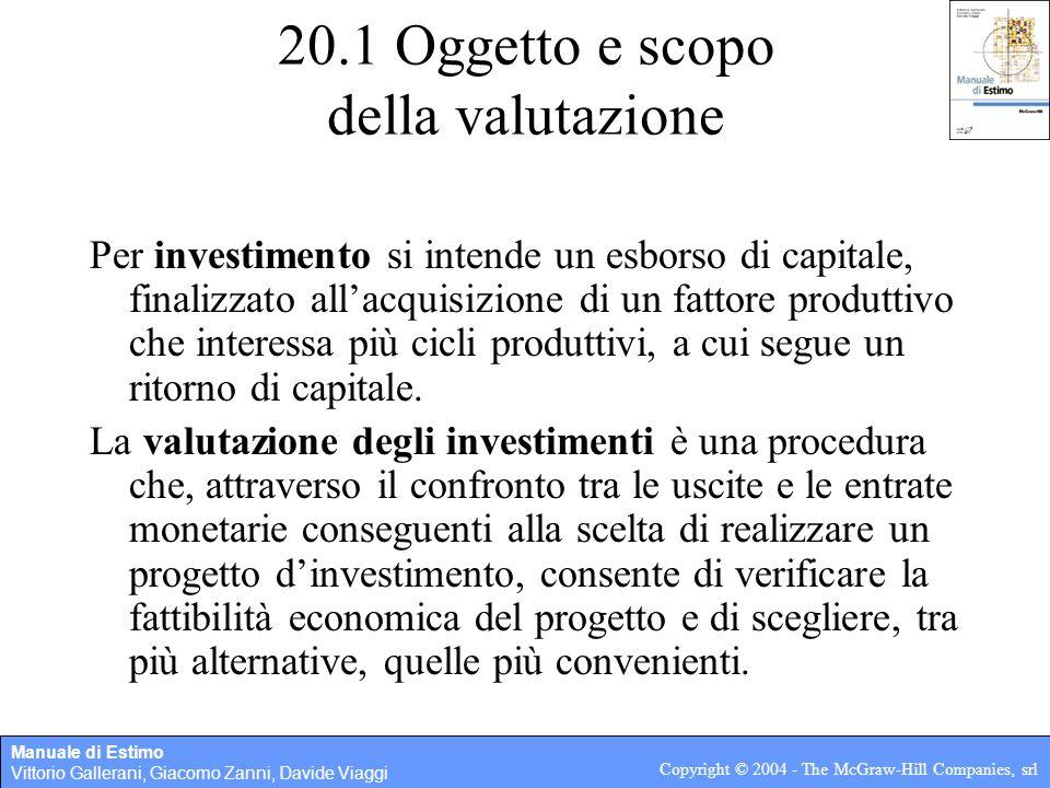 Manuale di Estimo Vittorio Gallerani, Giacomo Zanni, Davide Viaggi Copyright © 2004 - The McGraw-Hill Companies, srl 20.1 Oggetto e scopo della valuta
