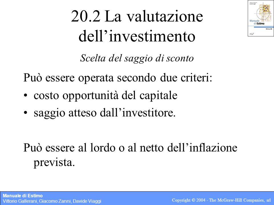 Manuale di Estimo Vittorio Gallerani, Giacomo Zanni, Davide Viaggi Copyright © 2004 - The McGraw-Hill Companies, srl 20.2 La valutazione dell'investimento Calcolo dei parametri di valutazione