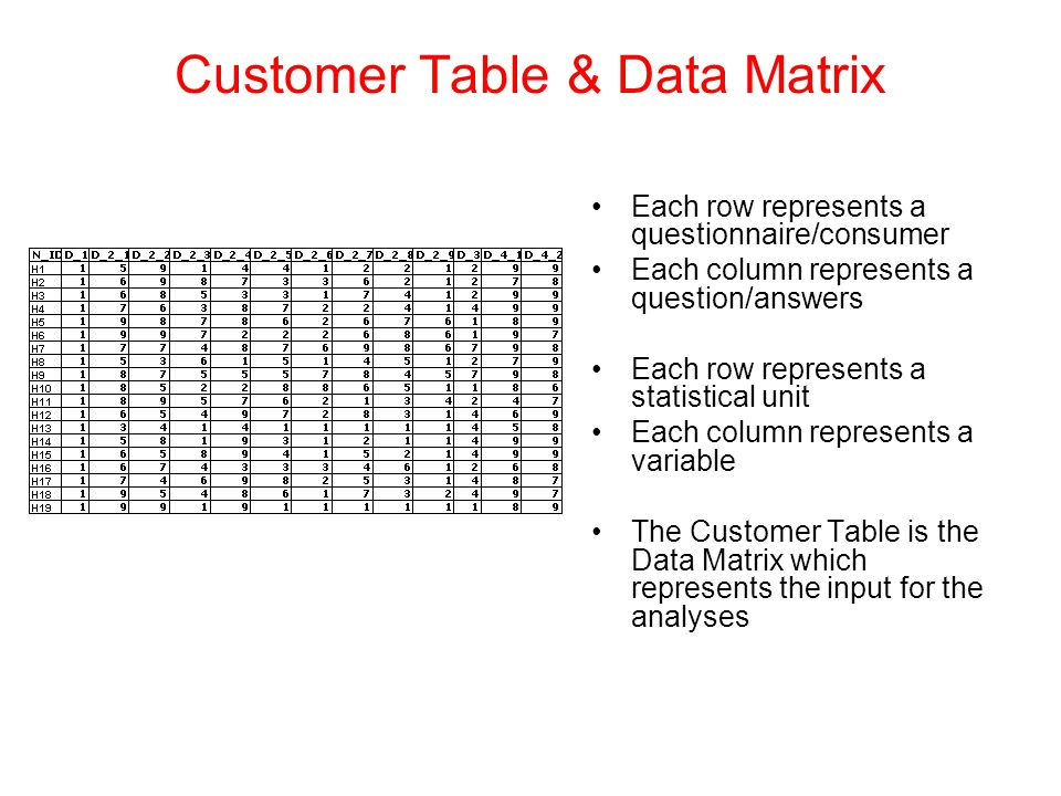 Customer Table & Data Matrix Each row represents a questionnaire/consumer Each column represents a question/answers Each row represents a statistical unit Each column represents a variable The Customer Table is the Data Matrix which represents the input for the analyses