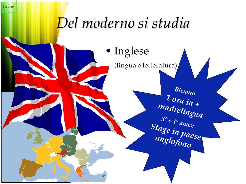 Del moderno si studia Inglese (lingua e letteratura) Biennio 1 ora in + madrelingua 3° e 4° anno: Stage in paese anglofono Orario
