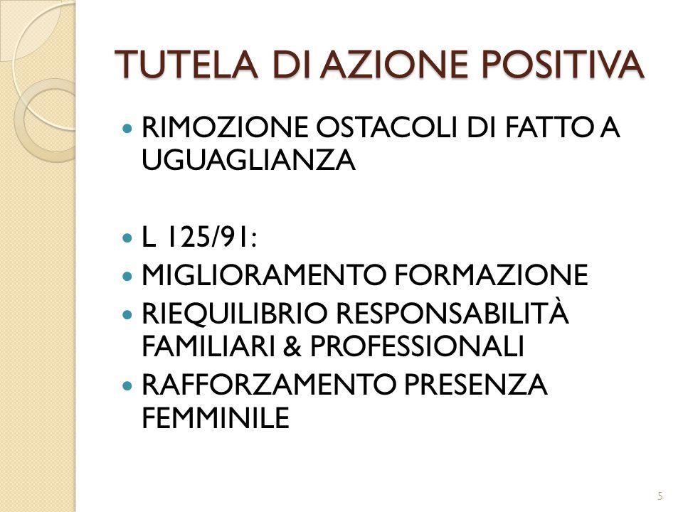 TUTELA DI AZIONE POSITIVA RIMOZIONE OSTACOLI DI FATTO A UGUAGLIANZA L 125/91: MIGLIORAMENTO FORMAZIONE RIEQUILIBRIO RESPONSABILITÀ FAMILIARI & PROFESSIONALI RAFFORZAMENTO PRESENZA FEMMINILE 5