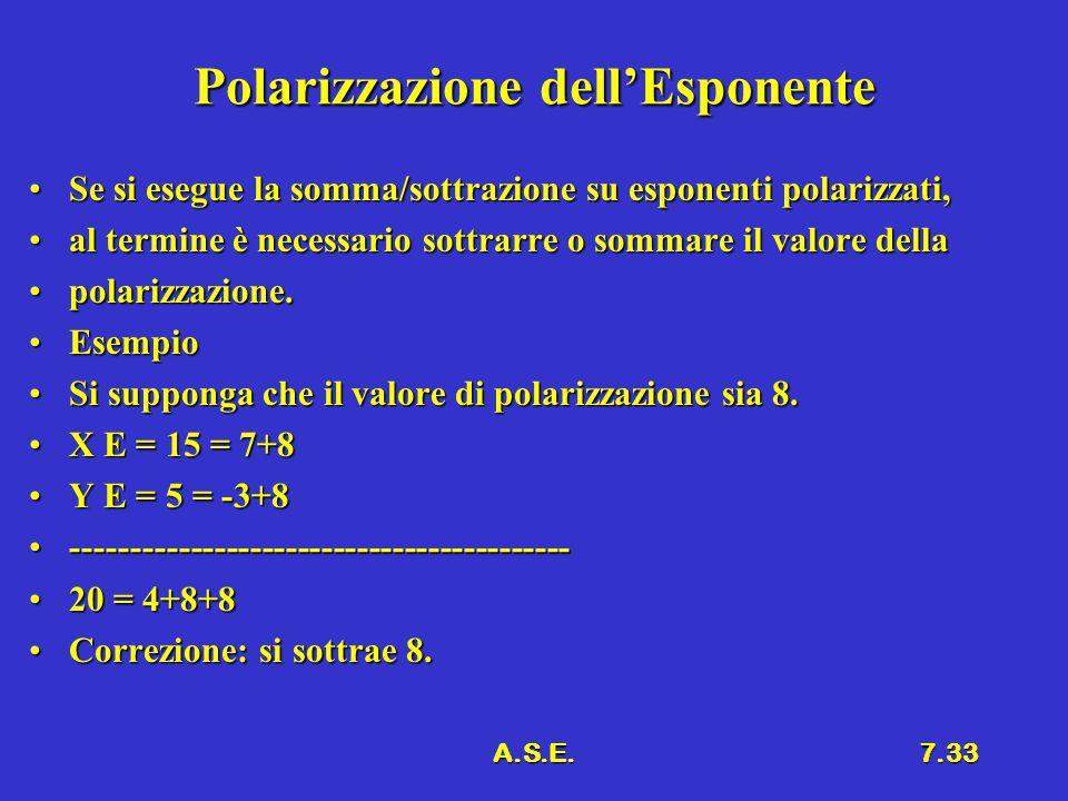 A.S.E.7.33 Polarizzazione dell'Esponente Se si esegue la somma/sottrazione su esponenti polarizzati,Se si esegue la somma/sottrazione su esponenti pol