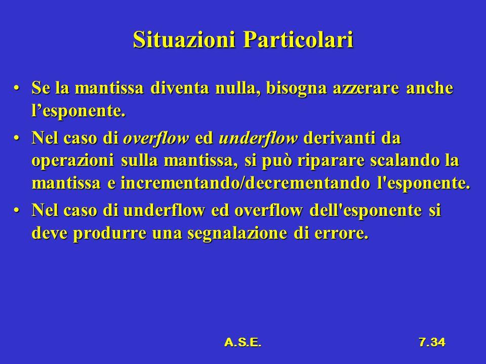 A.S.E.7.34 Situazioni Particolari Se la mantissa diventa nulla, bisogna azzerare anche l'esponente.Se la mantissa diventa nulla, bisogna azzerare anch