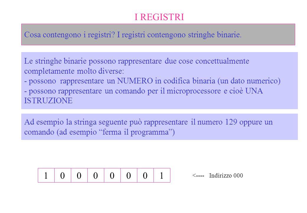 I REGISTRI Cosa contengono i registri? I registri contengono stringhe binarie. Le stringhe binarie possono rappresentare due cose concettualmente comp