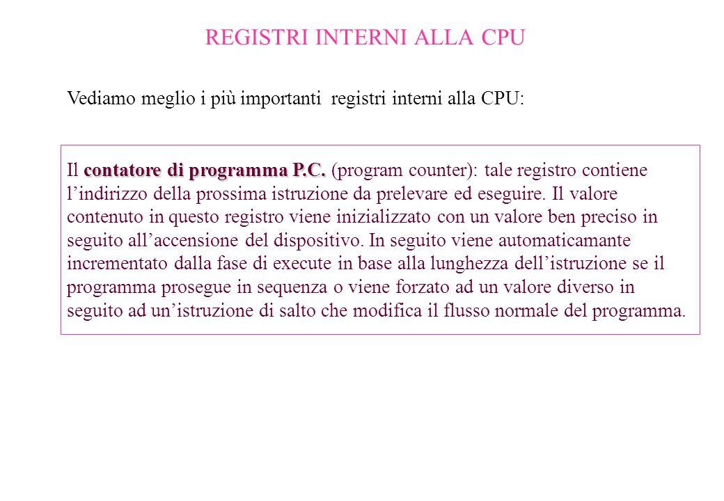 REGISTRI INTERNI ALLA CPU Vediamo meglio i più importanti registri interni alla CPU: contatore di programma P.C. Il contatore di programma P.C. (progr