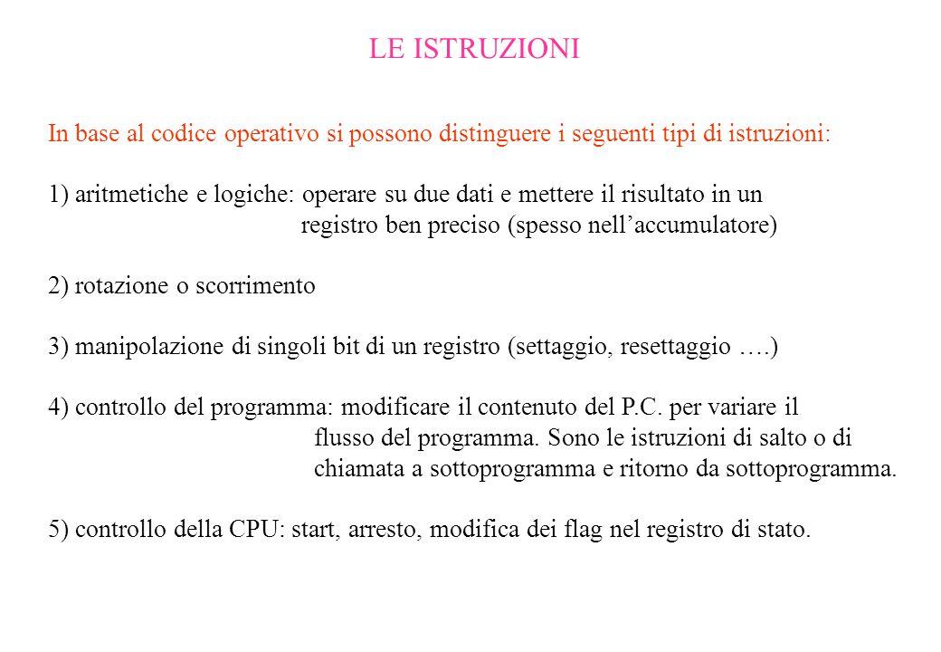 LE ISTRUZIONI In base al codice operativo si possono distinguere i seguenti tipi di istruzioni: 1) aritmetiche e logiche: operare su due dati e metter