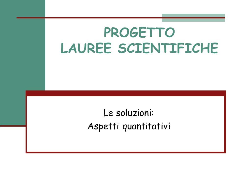 PROGETTO LAUREE SCIENTIFICHE Le soluzioni: Aspetti quantitativi