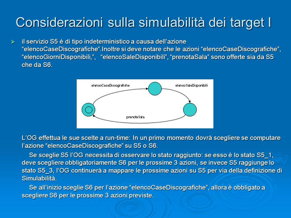 """Considerazioni sulla simulabilità dei target I  il servizio S5 è di tipo indeterministico a causa dell'azione """"elencoCaseDiscografiche"""".Inoltre si de"""