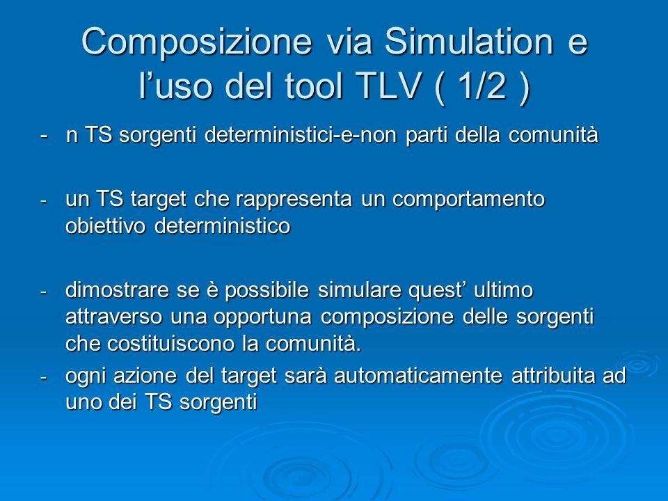 Composizione via Simulation e l'uso del tool TLV ( 1/2 ) - n TS sorgenti deterministici-e-non parti della comunità - un TS target che rappresenta un c