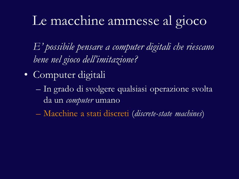 Le macchine ammesse al gioco E' possibile pensare a computer digitali che riescano bene nel gioco dell'imitazione? Computer digitali –In grado di svol