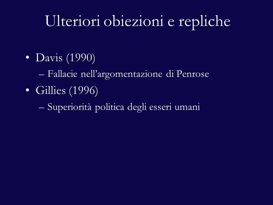 Ulteriori obiezioni e repliche Davis (1990) –Fallacie nell'argomentazione di Penrose Gillies (1996) –Superiorità politica degli esseri umani