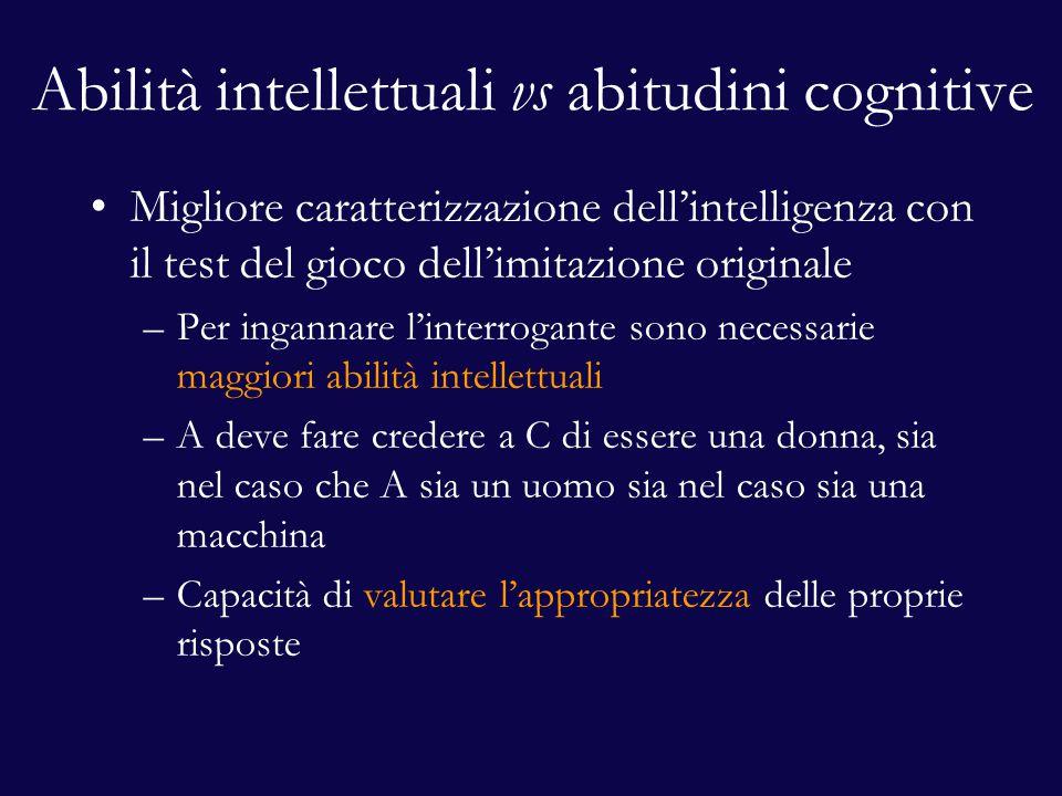 Abilità intellettuali vs abitudini cognitive Migliore caratterizzazione dell'intelligenza con il test del gioco dell'imitazione originale –Per inganna