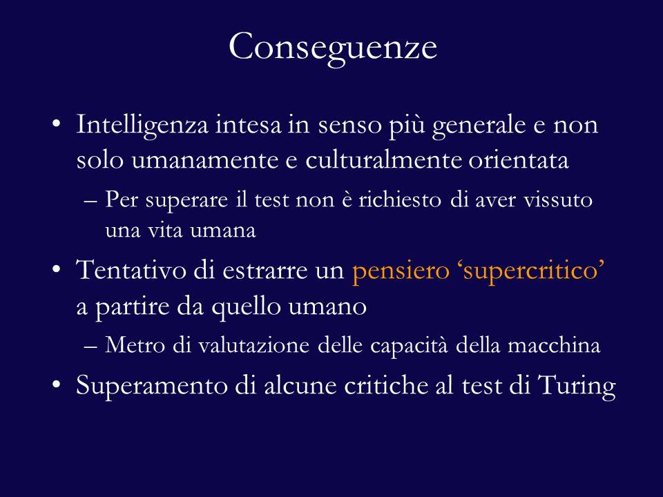 Conseguenze Intelligenza intesa in senso più generale e non solo umanamente e culturalmente orientata –Per superare il test non è richiesto di aver vissuto una vita umana Tentativo di estrarre un pensiero 'supercritico' a partire da quello umano –Metro di valutazione delle capacità della macchina Superamento di alcune critiche al test di Turing