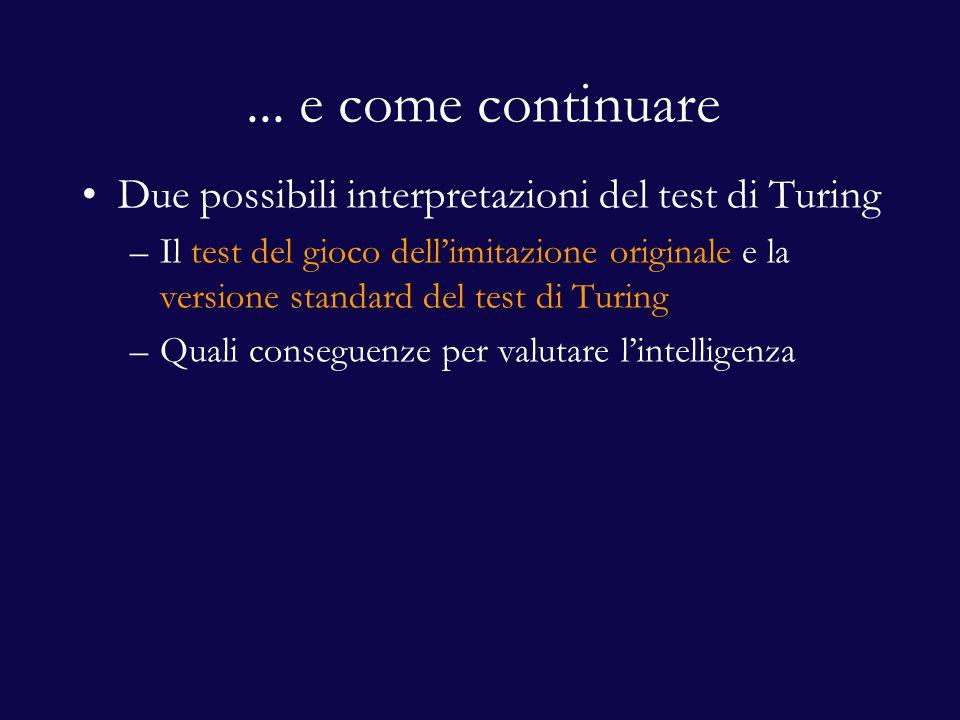 Due interpretazioni per il test di Turing Sterrett (2000) propone due possibili interpretazioni per il test di Turing 1.Test del gioco dell'imitazione originale (original imitation game test) 2.Versione standard del test di Turing (standard Turing test) La prima offre una migliore caratterizzazione dell'intelligenza