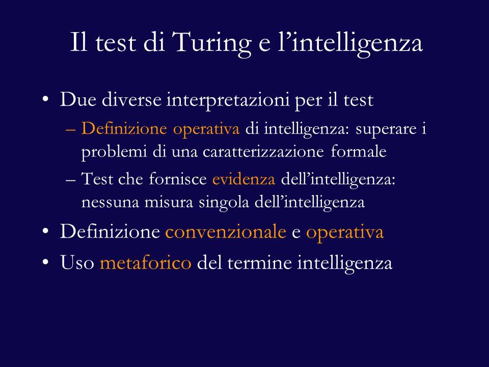 Il test di Turing e l'intelligenza Due diverse interpretazioni per il test –Definizione operativa di intelligenza: superare i problemi di una caratterizzazione formale –Test che fornisce evidenza dell'intelligenza: nessuna misura singola dell'intelligenza Definizione convenzionale e operativa Uso metaforico del termine intelligenza
