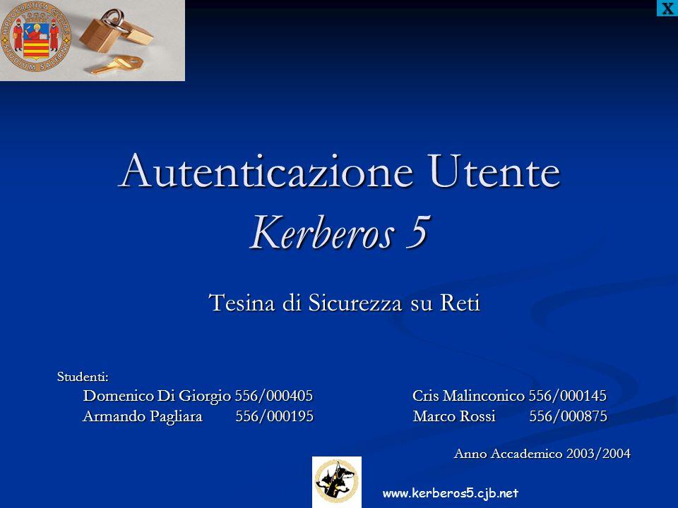 Autenticazione Utente Kerberos 5 Tesina di Sicurezza su Reti Studenti: Domenico Di Giorgio 556/000405 Cris Malinconico 556/000145 Domenico Di Giorgio