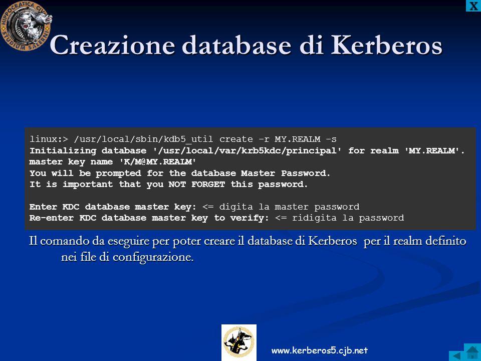 Creazione database di Kerberos Il comando da eseguire per poter creare il database di Kerberos per il realm definito nei file di configurazione. XXXX